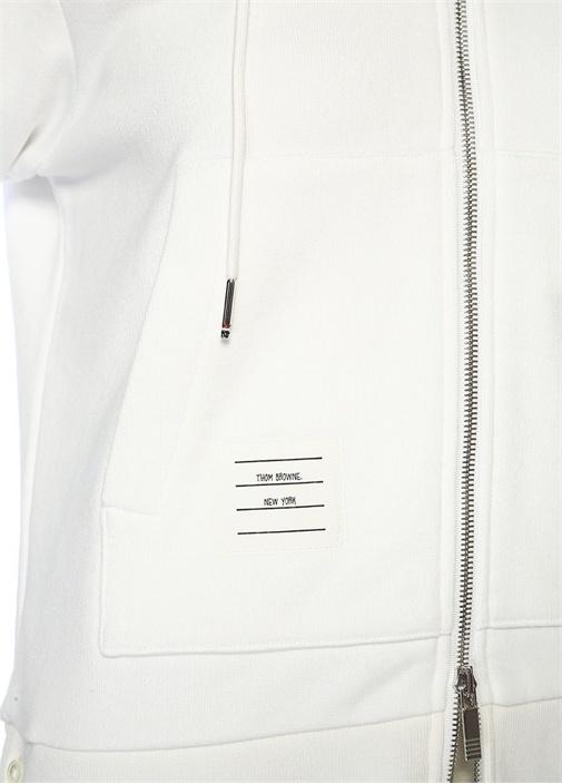 Beyaz Kapüşonlu Şeritli Fermuarlı Sweatshirt
