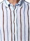 Drop 2 Mavi Çizgili Düğmeli Yaka Keten Gömlek