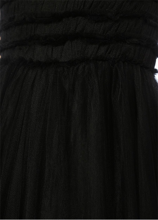Lyana Siyah V Yaka Maksi Tül Abiye Elbise