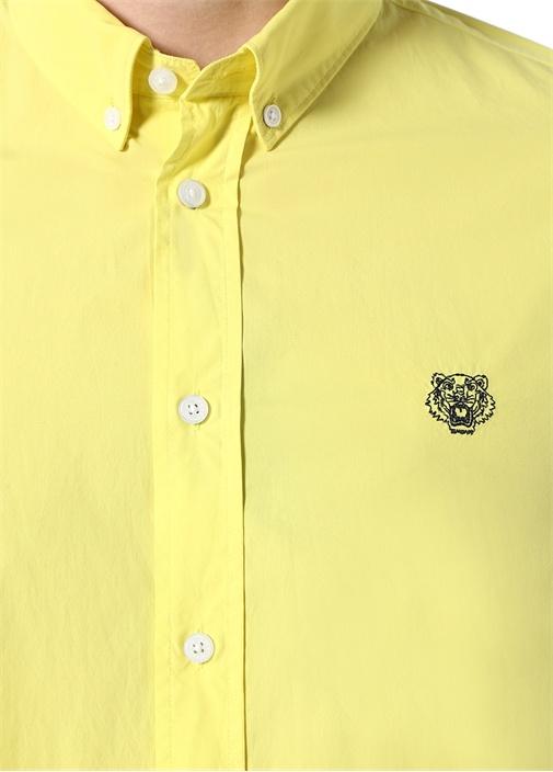 Casual Fit Sarı Logolu Düğmeli Yaka Gömlek