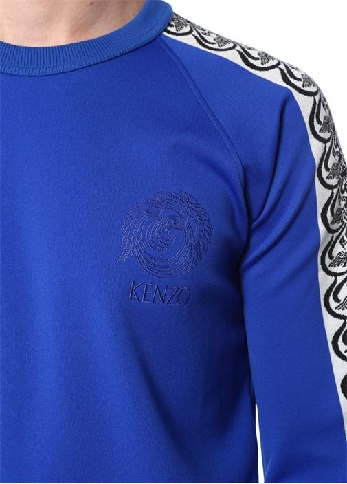 Saks Bisiklet Yaka Etnik Desen Detaylı Sweatshirt