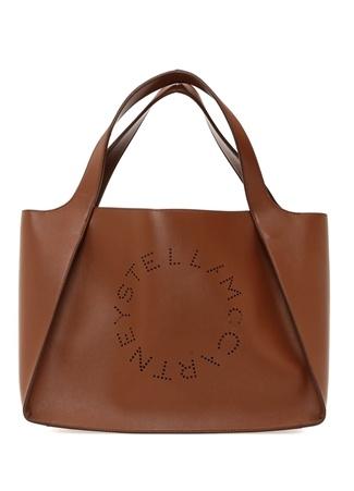 078a7f819a04d Stella McCartney Kadın Taba Delikli Logolu Alışveriş Çantası Turuncu EU