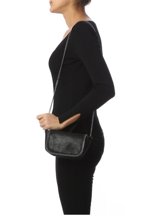 Siyah Mini Zincir Detaylı Kadın Omuz Çantası