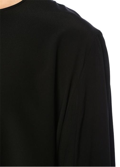Jaden Siyah Bisiklet Yaka Kolu Bağcıklıİpek Bluz