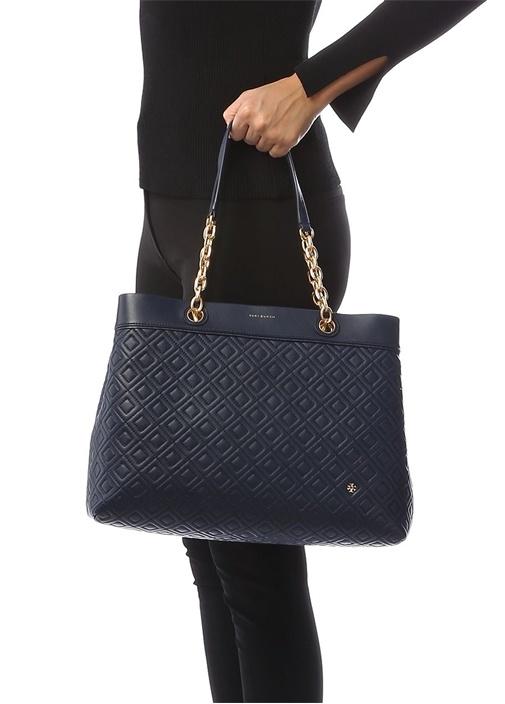 Fleming Triple Lacivert Logolu Kadın Deri Çanta