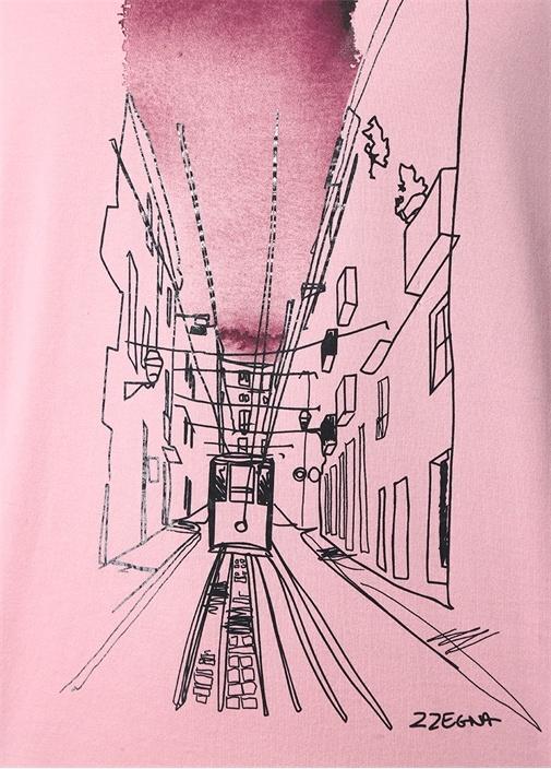 Pembe Bisiklet Yaka Tramvay Baskılı Basic T-shirt