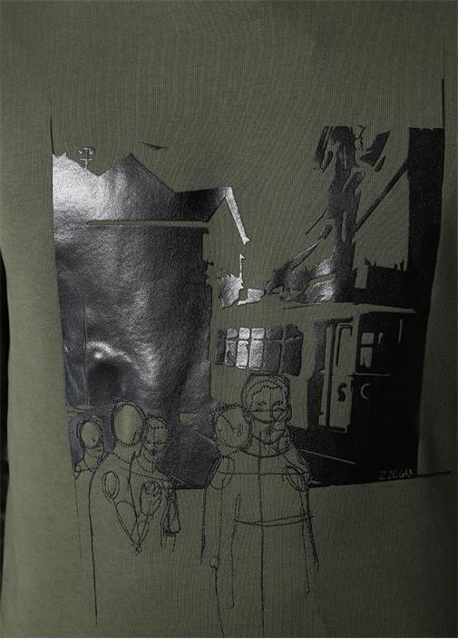 Haki Kapüşonlu Baskılı Sweatshirt