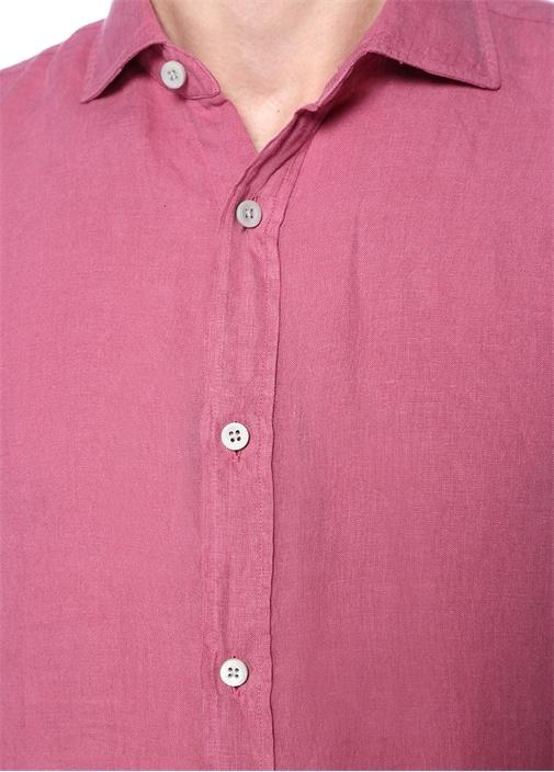 Pembe Ayaksız İtalyan Yaka Keten Gömlek