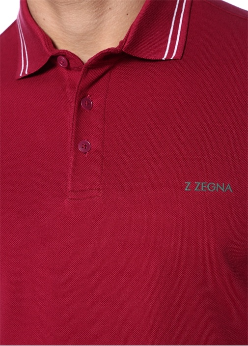Bordo Logo Baskılı Polo Yaka T-shirt