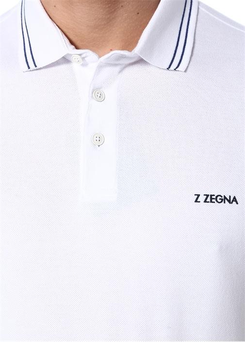 Beyaz Logolu Polo Yaka T-shirt