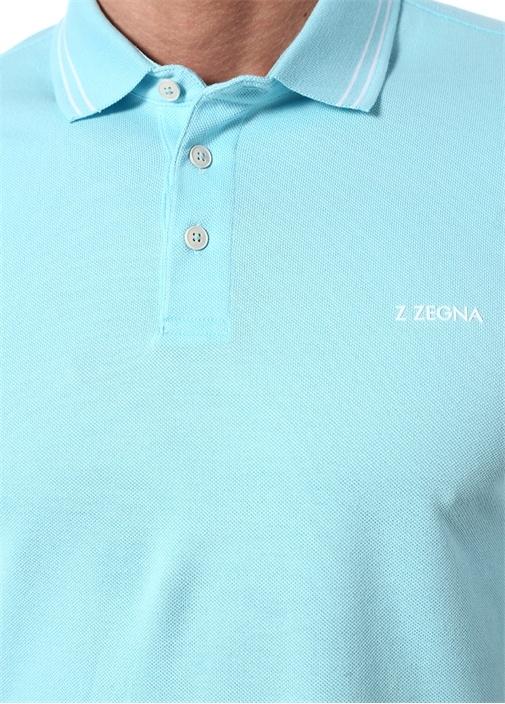 Mavi Logo Baskılı Polo Yaka T-shirt