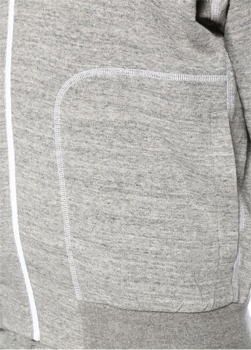 Gri Melanj Kapüşonlu Logolu Sweatshirt