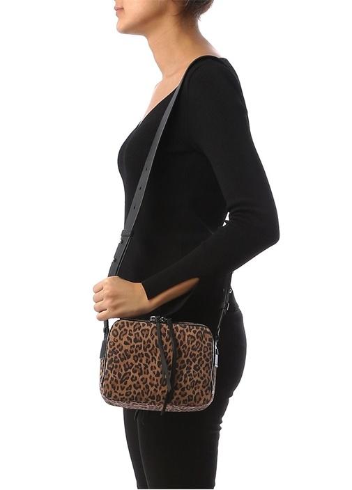 Vincent Leopar Desenli Logolu Kadın Deri Çanta