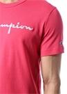 Neon Pembe Bisiklet Yaka Logo Nakışlı T-shirt