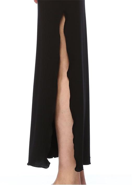 Siyah Silver Logo Baskılı Maksi Plaj Elbisesi