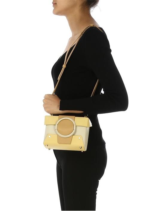 Asher Bej Sarı Kadın Deri Omuz Çantası