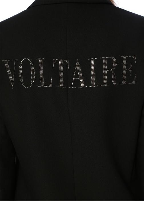 Viva Siyah Kırlangıç Yaka Sırtı Taş Logolu Ceket