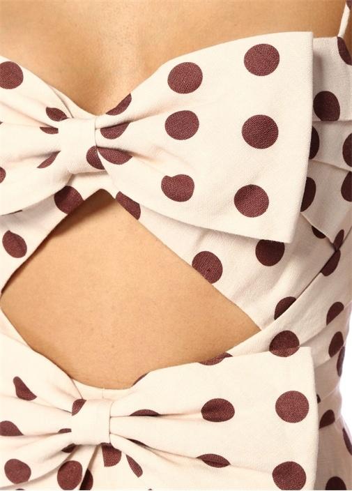 Corsage Pudra Puanlı Fiyonklu Maksi Keten Elbise