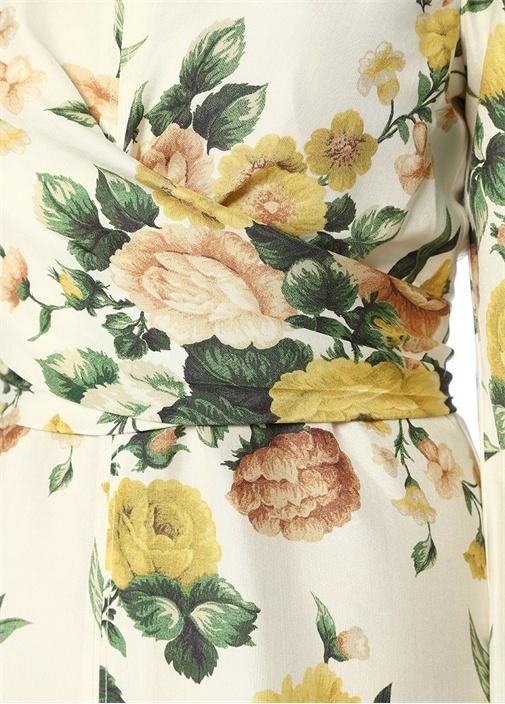 Zippy Beyaz Çiçekli Önü Bağcıklı Midi İpek Elbise