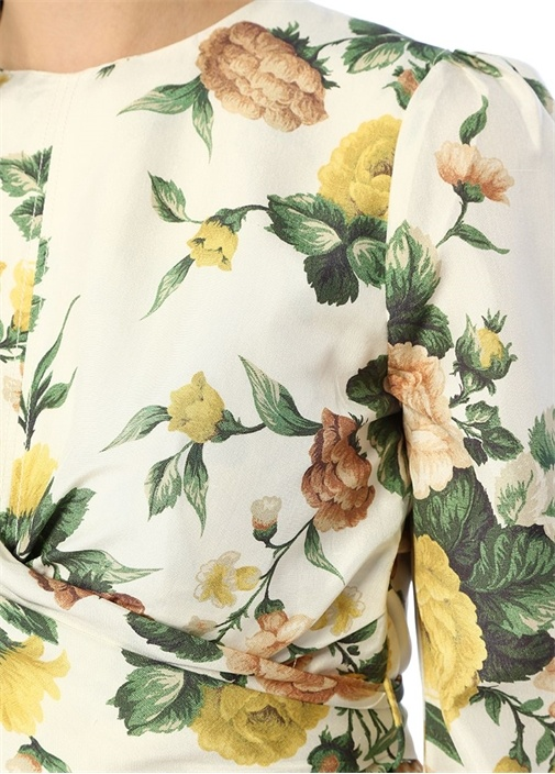 Zippy Beyaz Çiçekli İpek Anvelop Bluz