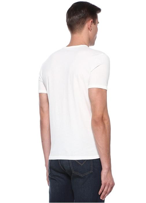 Beyaz Yakası Kuşgözü Detaylı Basic T-shirt