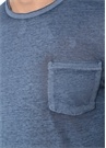 Mavi Melanj Bisiklet Yaka Cepli Basic T-shirt
