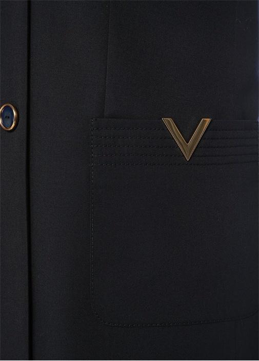 Lacivert Kırlangıç Yaka Metal Logolu Kruvaze Ceket