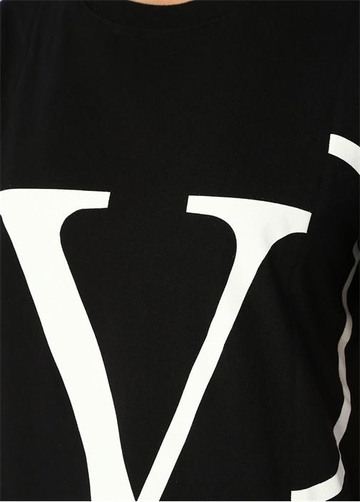 VLogo Siyah Bisiklet Yaka Baskılı T-shirt