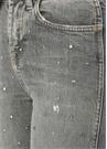 Erin Gri Yüksek Bel Taşlı Boru Paça Jean Pantolon