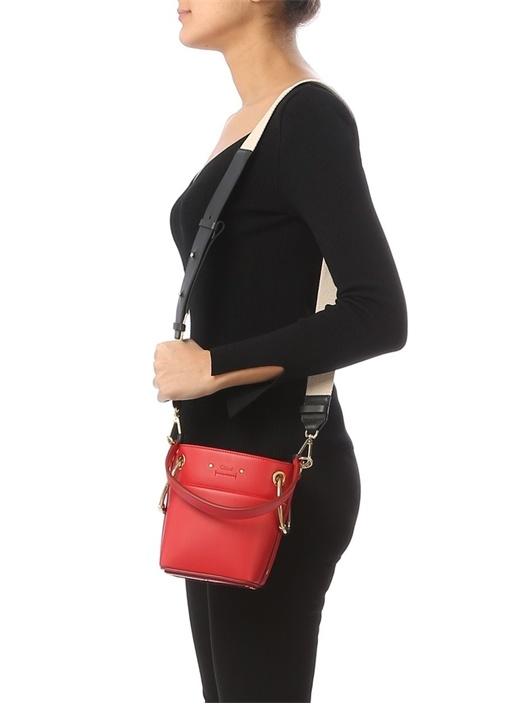 Mini Roy Kırmızı Logolu Kadın Deri Çanta
