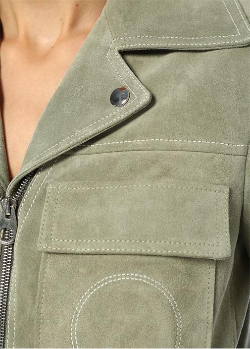 Yeşil Kelebek Yaka Fermuarlı Süet Ceket