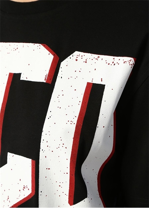 Siyah Logo Baskılı Yarım Kol Mini Elbise