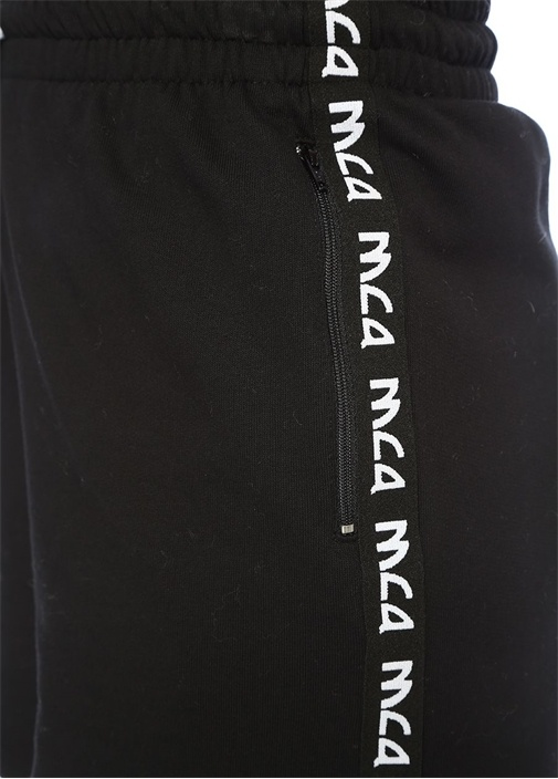 Siyah Yüksek Bel Kontrast Logo Şeritli Şort