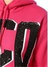 Fuşya Kapüşonlu Logo Baskılı Crop Sweatshirt