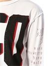 Beyaz Logo Baskılı Sweatshirt
