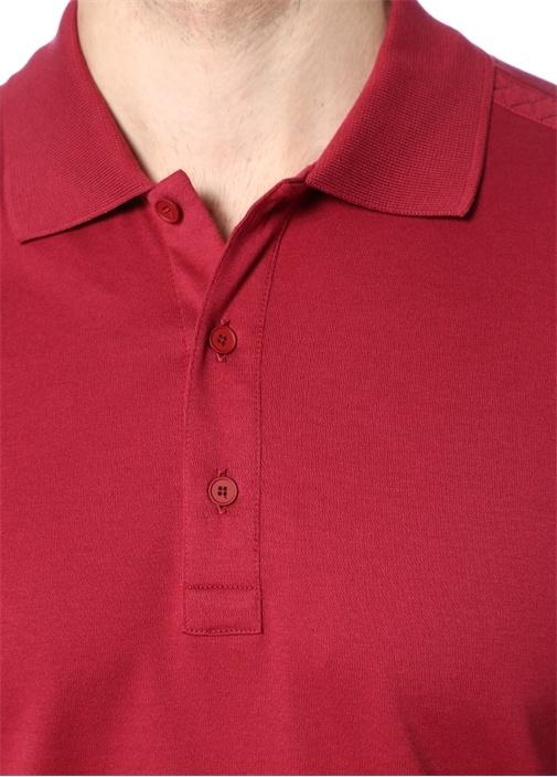 Bordo Polo Yaka Dekoratif Dikişli T-shirt
