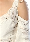 Butterfly Effect Beyaz Nakışlı Mini Keten Elbise