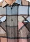 Gri Pembe Polo Yaka Ekose Desenli Yün Dış Gömlek