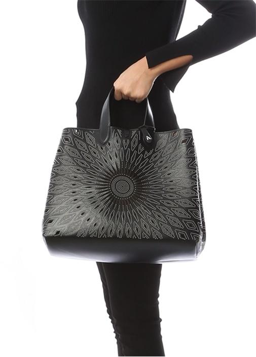 Frida Large Siyah İnce Troklu Kadın Deri Çanta