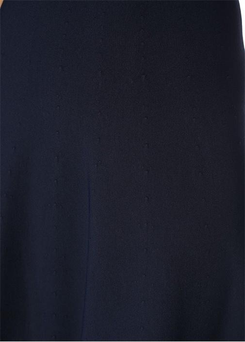 Lacivert Sırtı Dekolte Detaylı Kolsuz Midi Elbise