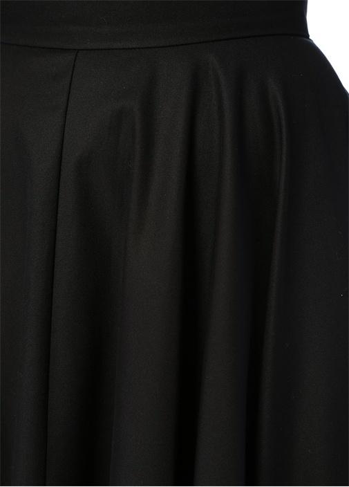 Siyah Yüksek Bel Drapeli Maksi Çan Etek