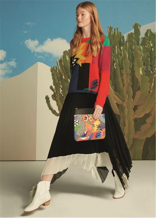Pop Art Desenli Deri Garnili Kadın El Portföyü