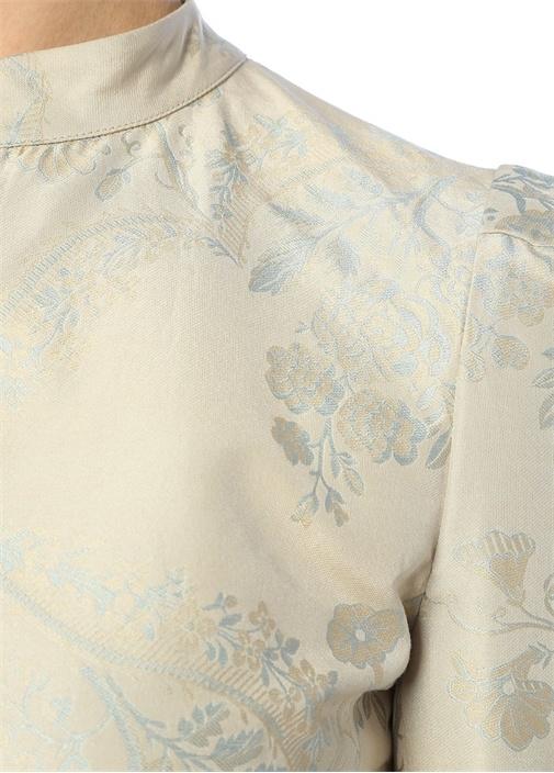 Mavi Çiçek Jakarlı Ucu Peplum Detaylı Ceket