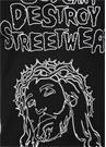 Siyah Bisiklet Yaka Karikatür Baskılı T-shirt