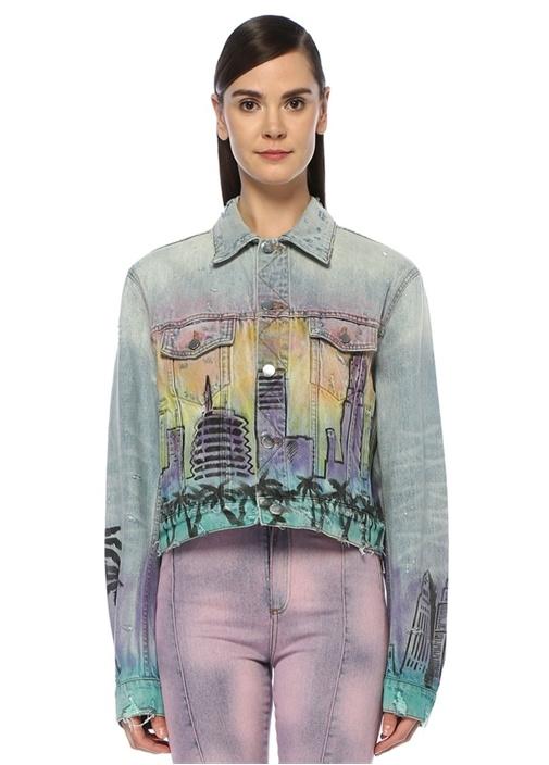 Airbrush Hollywood Yıpratmalı Denim Ceket