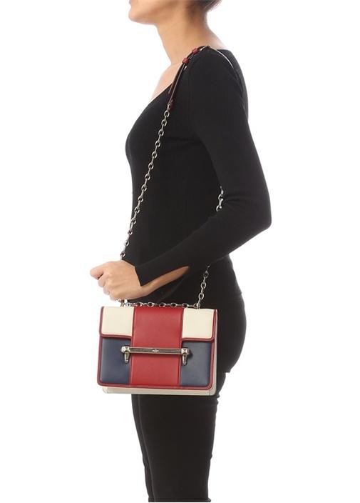 Kırmızı Colorblocked Logolu Kadın Deri Çanta