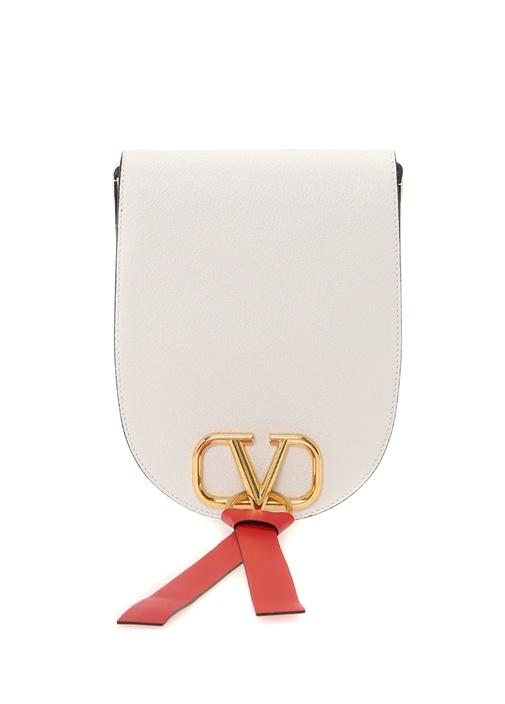 Vring Medium Beyaz Logolu Kadın Deri Çanta