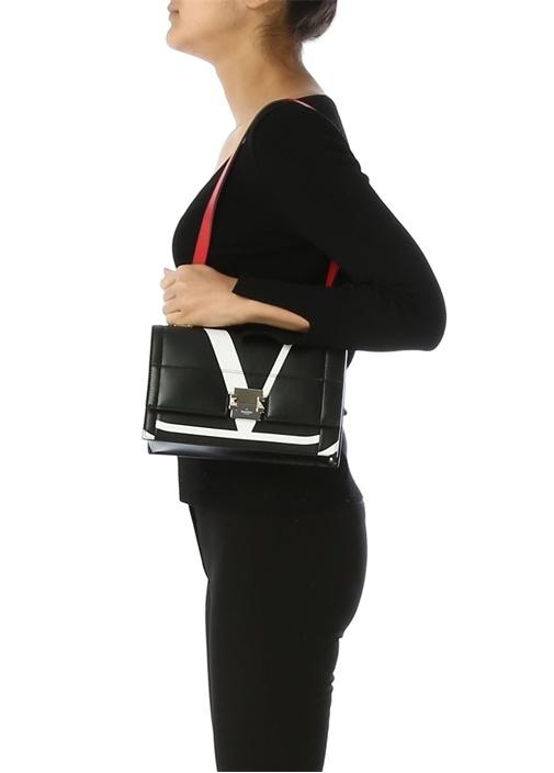Siyah Logo Baskılı Kadın Deri Omuz Çantası