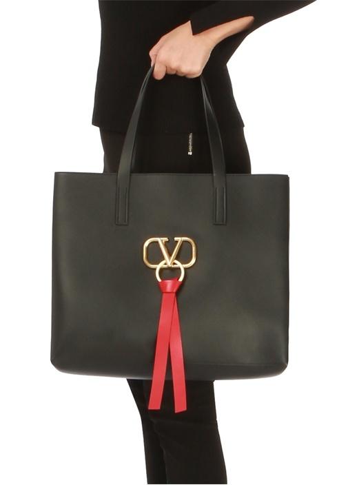 Vring Siyah Logolu Kadın Deri AlışverişÇantası