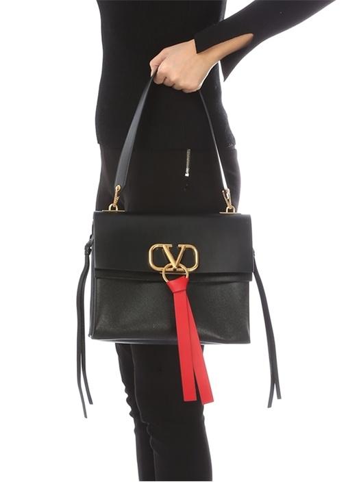 Vring Siyah Metal Logolu Kadın Deri Çanta